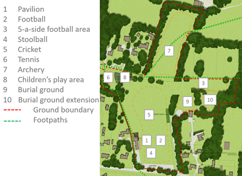 Recreation ground map and key
